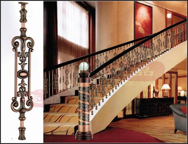 Decoratie imitatie smeedijzeren hek hout trap kolom trap leuning