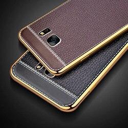 Coque arrière en cuir de luxe, coque, étui pour samsung galaxy s6 s7 edge plus s 6 7 coques de téléphone d'origine en silicone silicone tpu