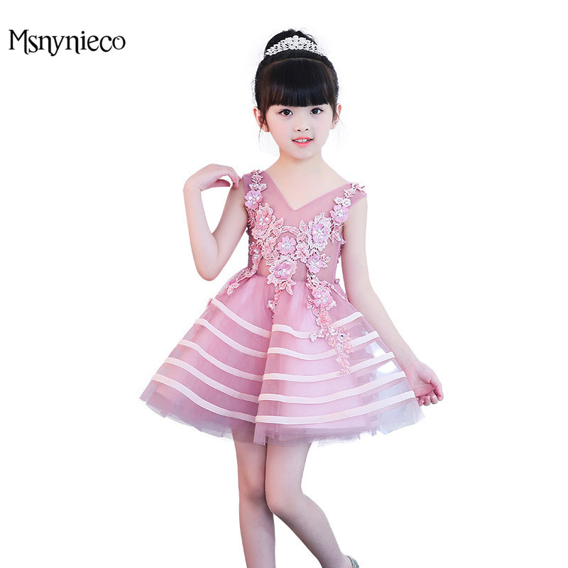 Girl Christmas Dress For Girls Birthday Party Evening Floral Pink Dresses 2018 Cute New Year Costume Vestidos infanti