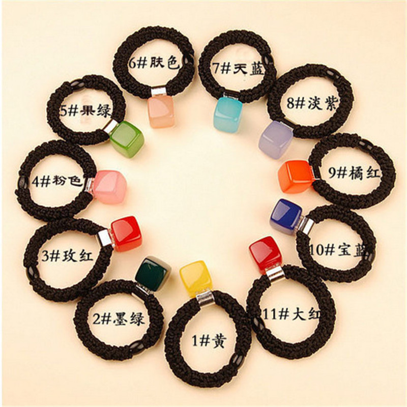 ФОТО 50pcs Hair accessories for women Decorate Candy Block Jelly Multicolor Hair Circle Headrope Headwear headbands head decorations