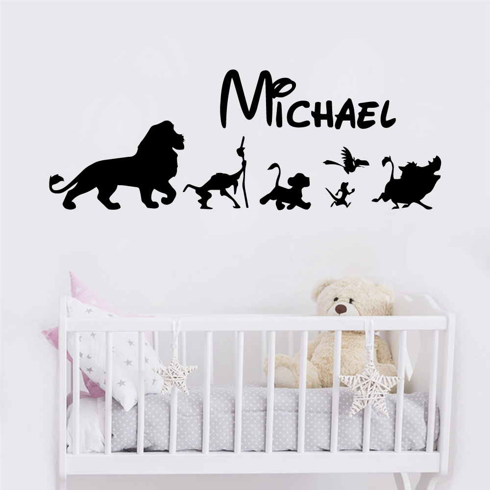 Cartoom The Lion King Custom Name Animals Wall Sticker Vinyl Wallsticker For Kids Room Decoration Decal adesivo de parede in Wall Stickers from Home Garden