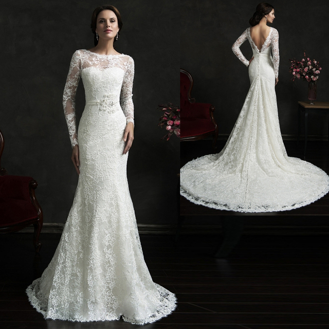Long sleeve lace wedding dress with low back for Lace low back wedding dress