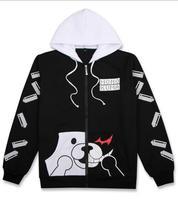 Danganronpa Косплэй Толстовка monokuma аниме балахон Черный и белый медведь с длинным рукавом на молнии легкий куртка с капюшоном плюс Размеры
