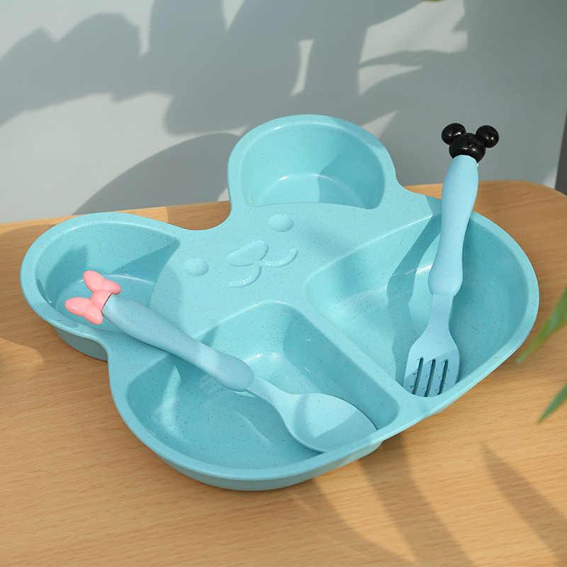 ฟางข้าวสาลีเด็กการ์ตูนชุดเด็กจานอาหารเด็กชามช้อนส้อมสำหรับเด็กที่มีกล่อง
