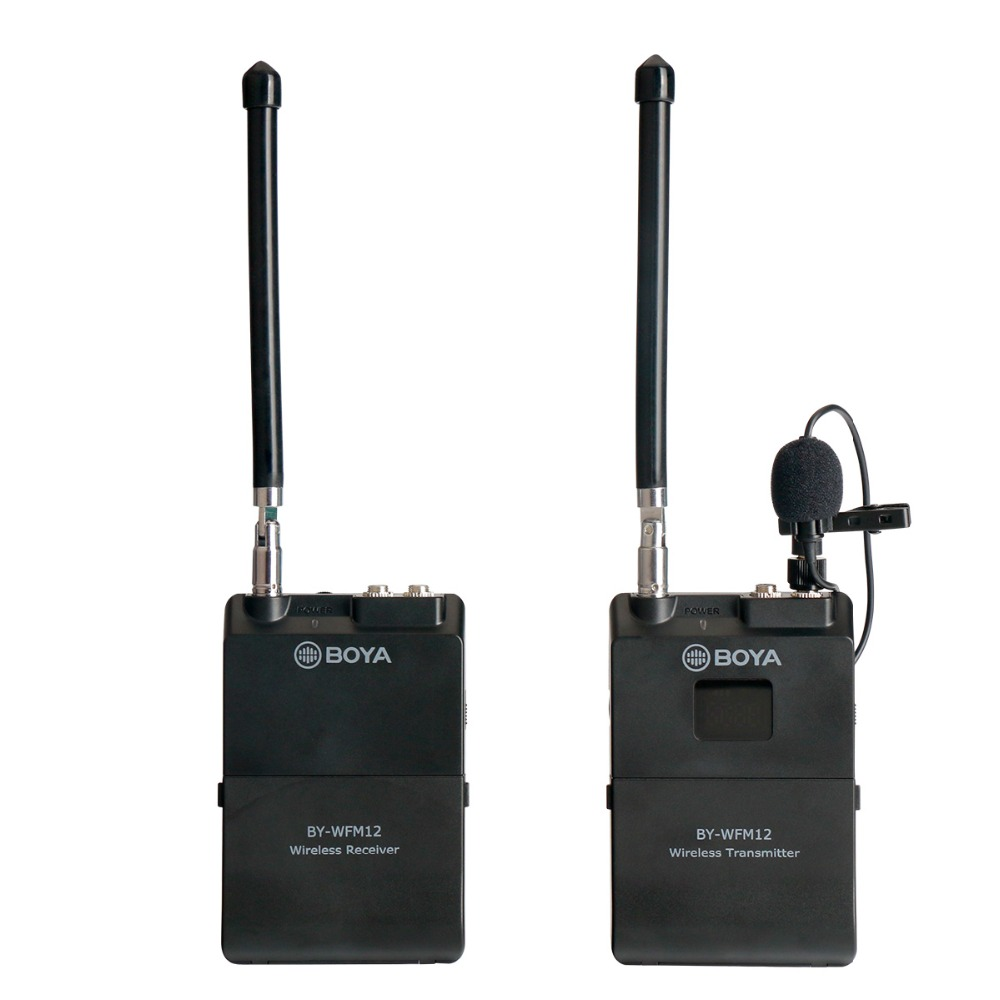 BOYA BY-WFM12 40M VHF Wireless Channel, Lavalier Microphone for Canon Nikon DSLR Camcorders Camera Recorders Mobile Phone boya by wfm12