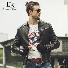2017 New brand Men Genuine Leather Jacket Autumn Outerwear Black/Slim/Simple Business Style/Sheepskin Coat 14S9186