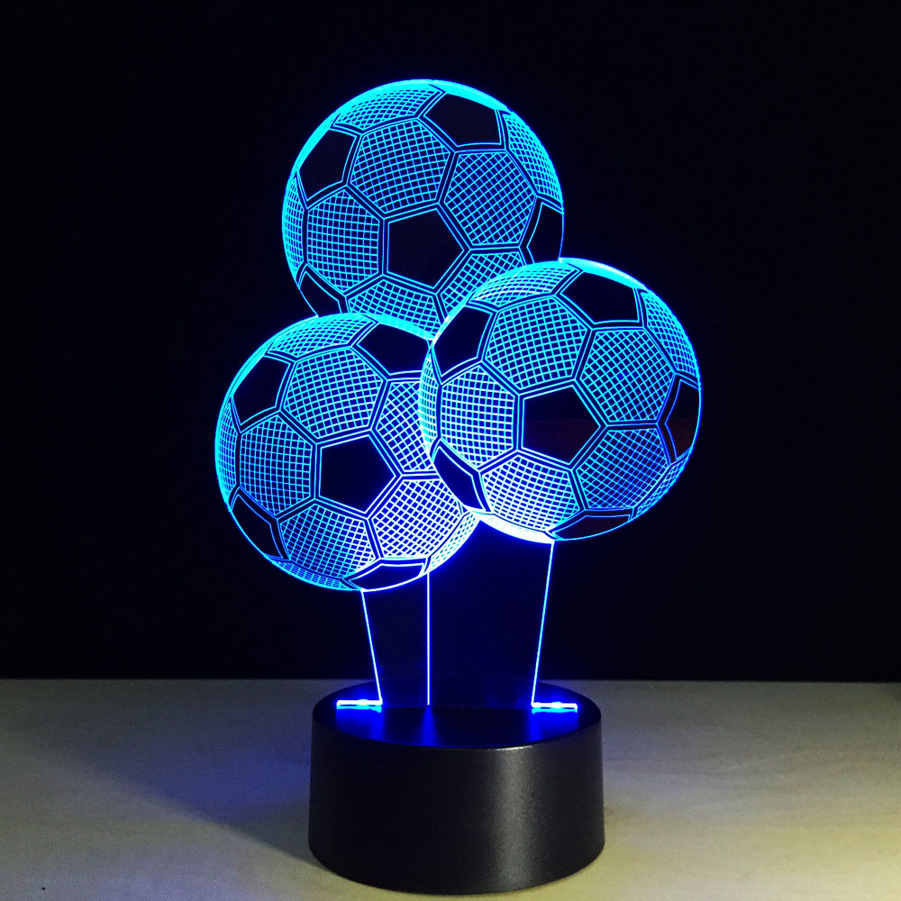Baby Bedside Sleep Lighting Led Night Lights 7 Color 3D Football Balloon Decor Sporting Desk Lamp Home Atmosphere Creative Gifts