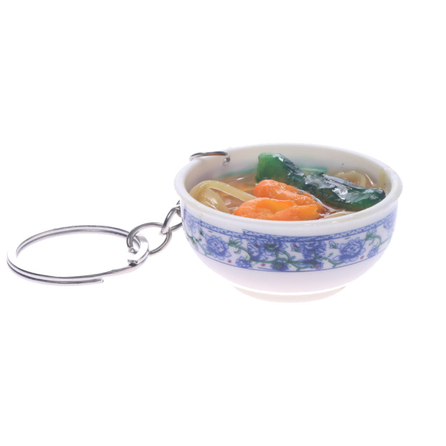 Simulation Food Key Chains Chinese Food Bowl Keyring Creative Bag Chain Pop Cool Accessories Jewelry Wholesale Gift for Men 1