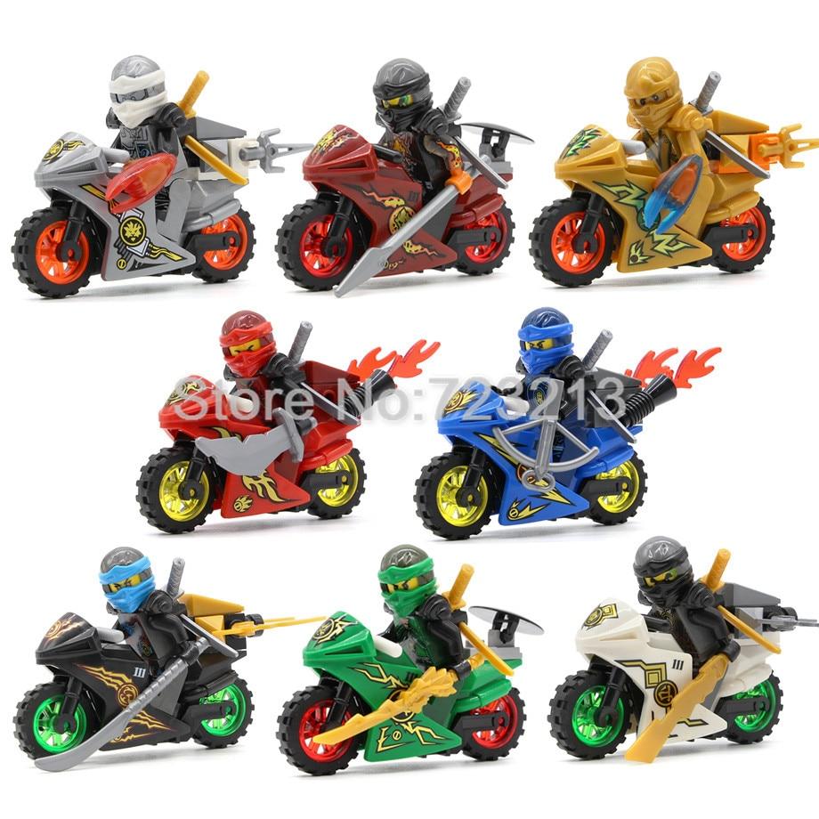 8pcs/lot Ninja Motorcycles Figure Ninjagoed Set Kai Lloyd Nya Jay Zane Motor Sets Building Blocks Models Bricks Kits Toys