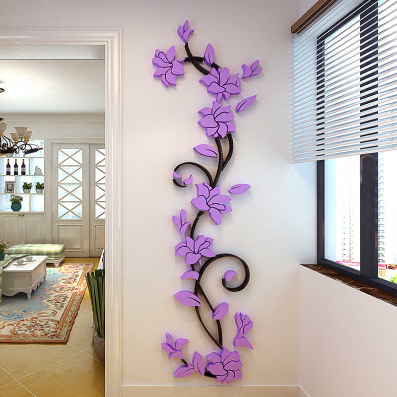 2018 DIY 3D Flower Tree Acrylic Wall Sticker Decals Home Decor Wallpapers For Livingroom Bedroom Wall Decoration Stickers Poster