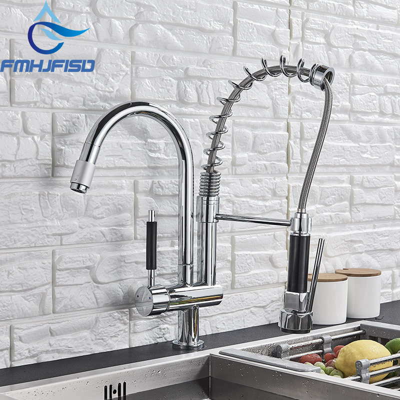 FMHJFISD Kitchen Faucet Chrome Nickel Dual Spout Brass Purifier Vessel Sink Mixer Tap Hot and Cold