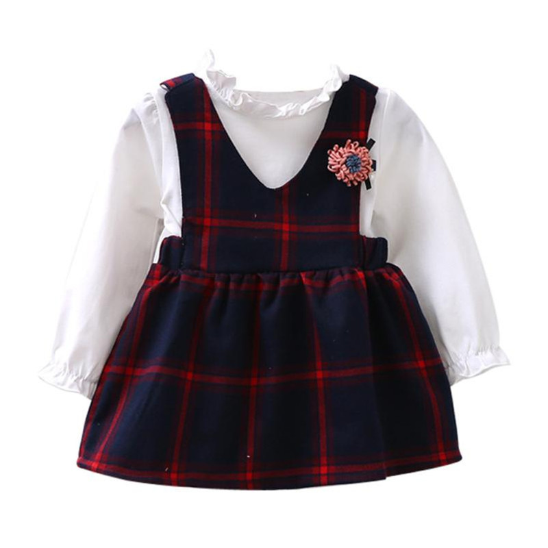 MUQGEW Toddler Kids Girls Cute Long Sleeve Bubble Dress Princess Checked Plaid Dress vestido infantil girl winter clothes