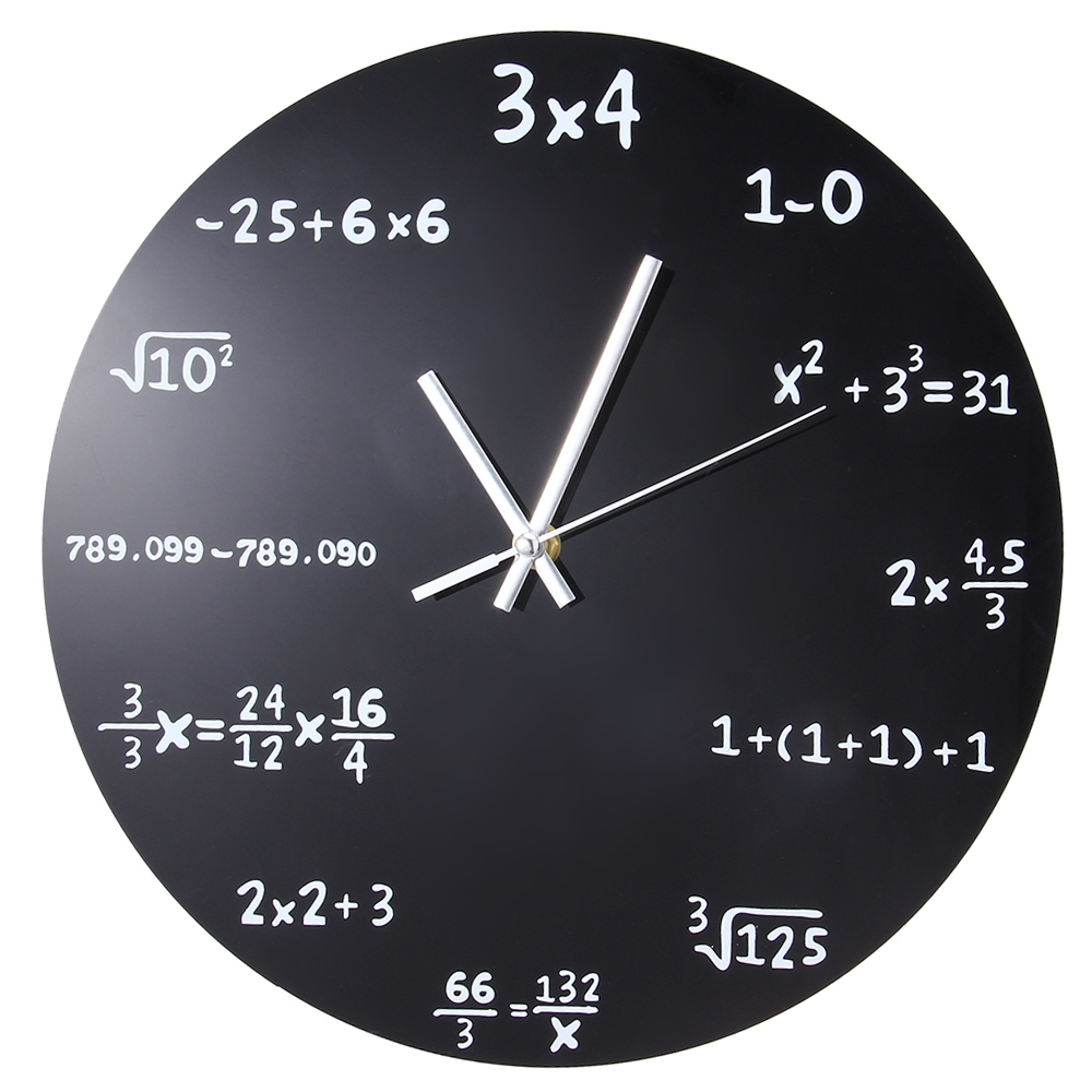 Large Wall Clock Mathematics Blackboard Pop Quiz Kitchen Clock Black Powder Coated Metal Quartz Circular Arithmetic Wall Watch