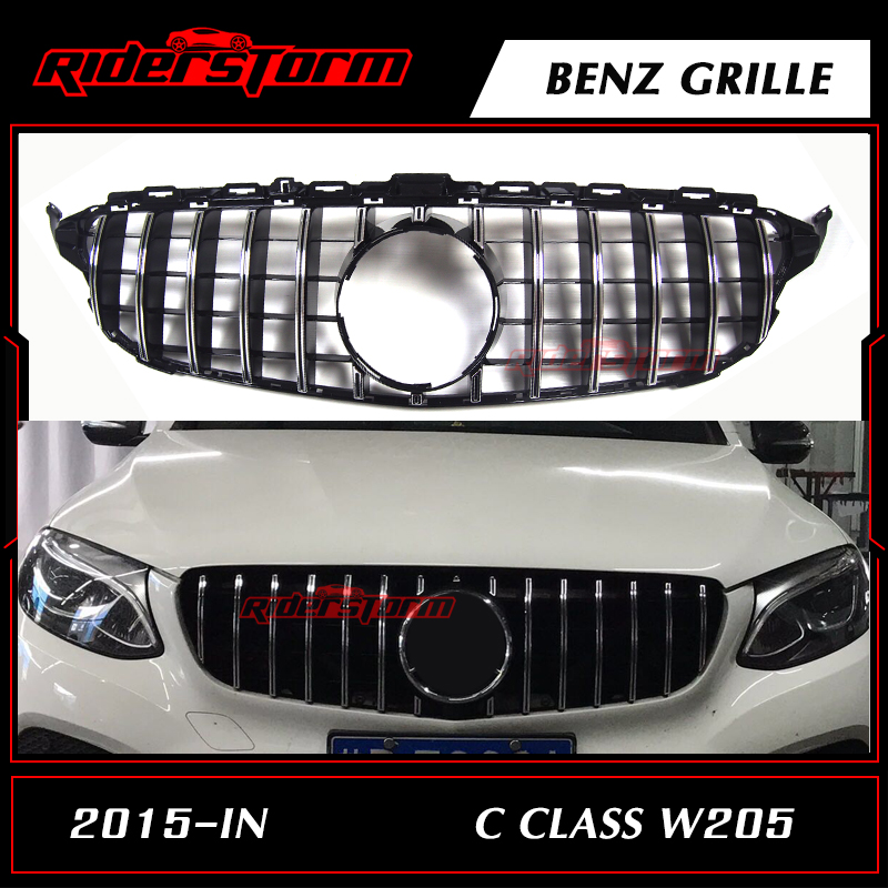 цена на Hot C Class w205 AMG GT R Front Diamond silver Grille Mesh Radiator FOR Mercedes Benz C180 C200 C250 C300