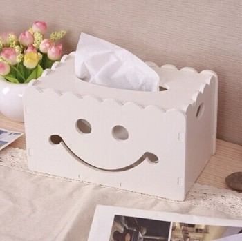 Emoji Smile Decorative Wooden Tissue Box DIY Storage Box Pen Box Desktop Storage Boxes Wood Decorate kotak tisu yang unik