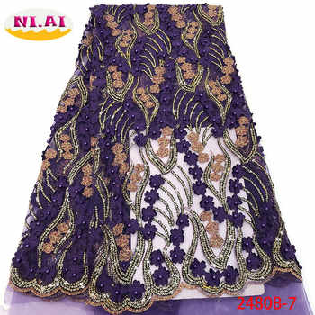 Nigerian Beaded Lace Fabric 2019 High Quality African 3D Net Lace Fabric Wedding French Tulle Lace Material For Dress XY2480B-2