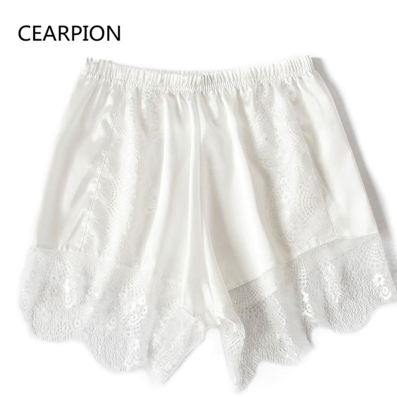 CEARPION Summer Shorts Solid Satin Sleepwear Sexy Lace Nightgown Hollow Out Nightwear Female Perspective Home Wear Negligee