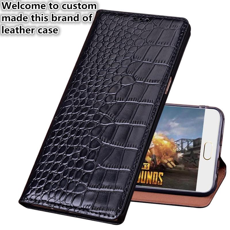 CJ12 Crocodile pattern natural leather flip case for font b OnePlus b font font b 7