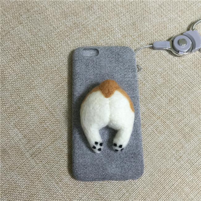 Corgi case handmake igły filcu wełnianego słodkie cat dog tyłek tyłek pokrywa dla apple iphone 6 6s plus iphone 7 7 p miękkie telefon komórkowy case 16