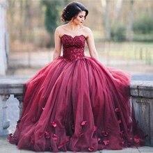 Vestidos de Fiesta Abendkleider Bodenlangen Tüll Liebsten Perlen Pailletten Blumen Burgund Ballkleid Prom Kleider