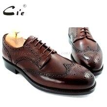 CIE полный броги goodyear welted ручной чистой натуральной телячьей Кожаная подошва дышащая Для мужчин платье Туфли без каблуков Дерби коричневый обуви No. d52