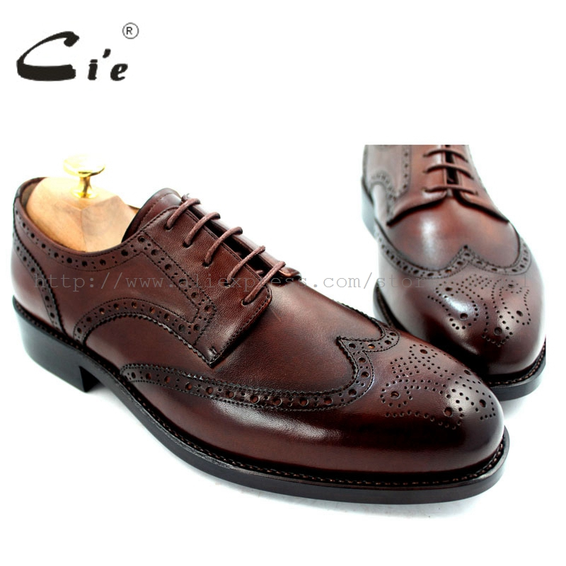 cie Full Brogues Goodyear Welted Handmade Pure Genuine Calf Leather Outsole Breathable Men's Dress Flats Derby Brown Shoe No.D52