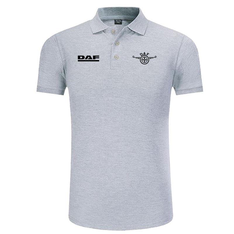 DAF logo   Polo   Shirt Men Brand Clothes Solid Color   Polos   Shirts Casual Cotton Short Sleeve   Polos