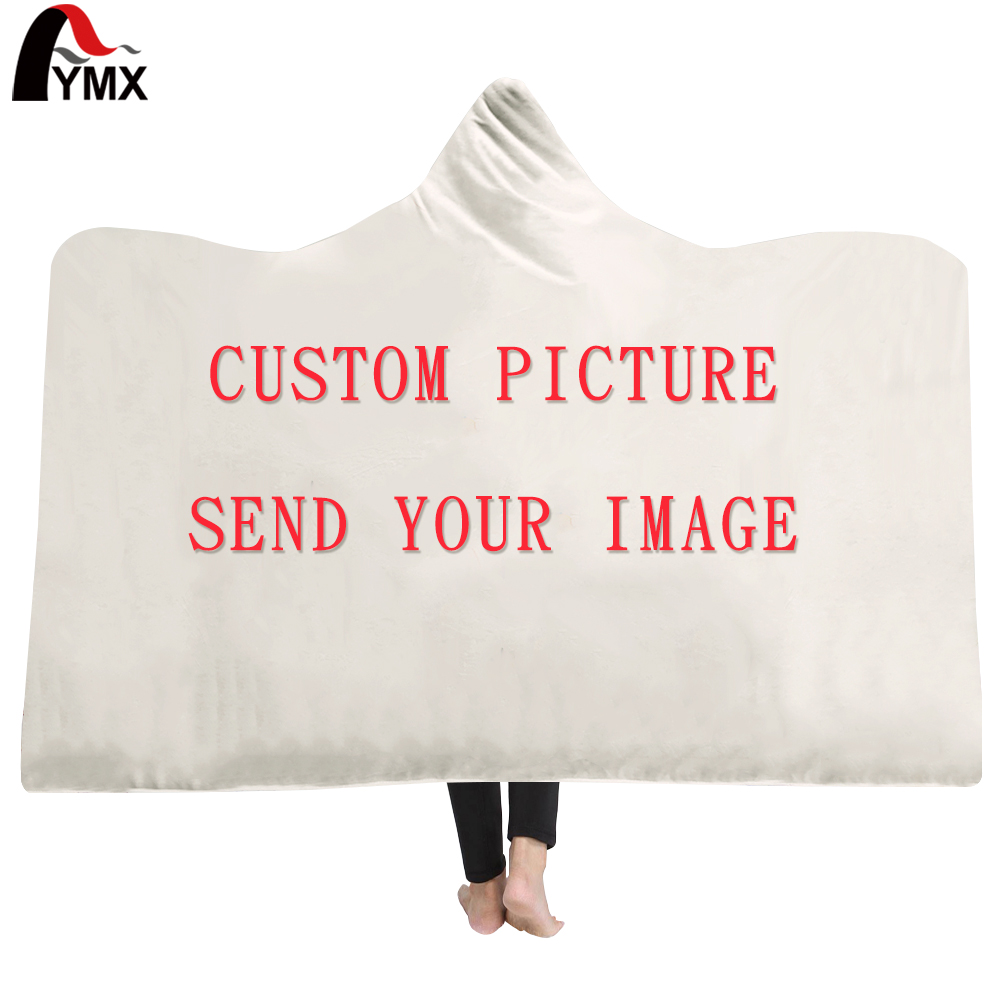 FYMX Dropshipping Customized Hooded Blanket 3D Printed Plush For Adults Kid Warm Wearable Fleece Personality Throw Blankets