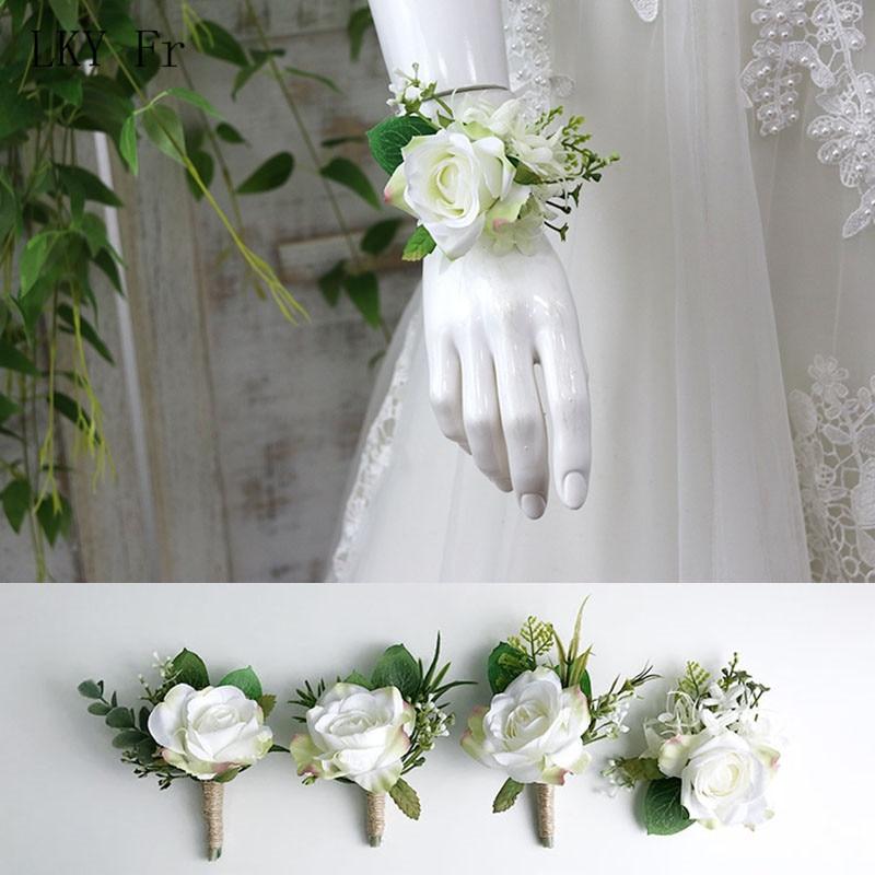 LKY Fr Wrist Corsage Bridesmaid Wedding Bracelet Silk Flower Corsages Groom Boutonniere Corsage Pin Wedding Marriage Accessories