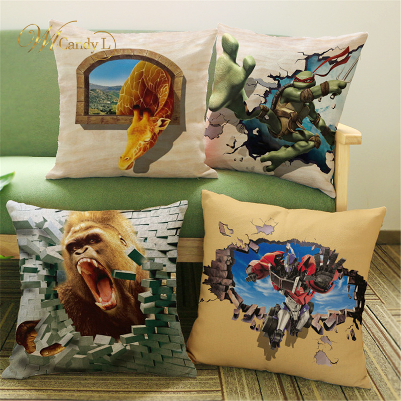 WL Candy L 3D Effect Animals Cushion Covers Dinosaur Optimus Prime Soft Beige Square Throws Pillow Cover Bedroom Sofa Decor