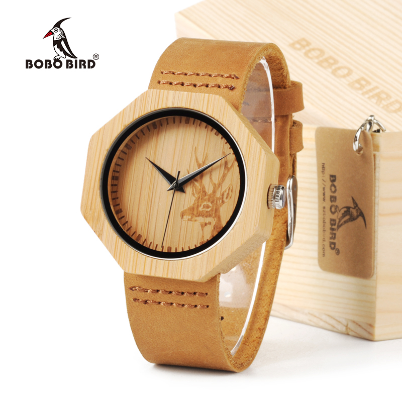 BOBO BIRD A14 Natural Bamboo Wood With Deer Head Dial With Genuine Leather Lovers Luxury Brand Wristwatch For Women as Gifts мягкая игрушка promise a nw113501 bobo 35cm
