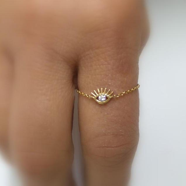 Goud kleur passen keten ring leuke mooie evil eye charm lucky girl vrouwen Midi Knuckle finger zoete sieraden ringen