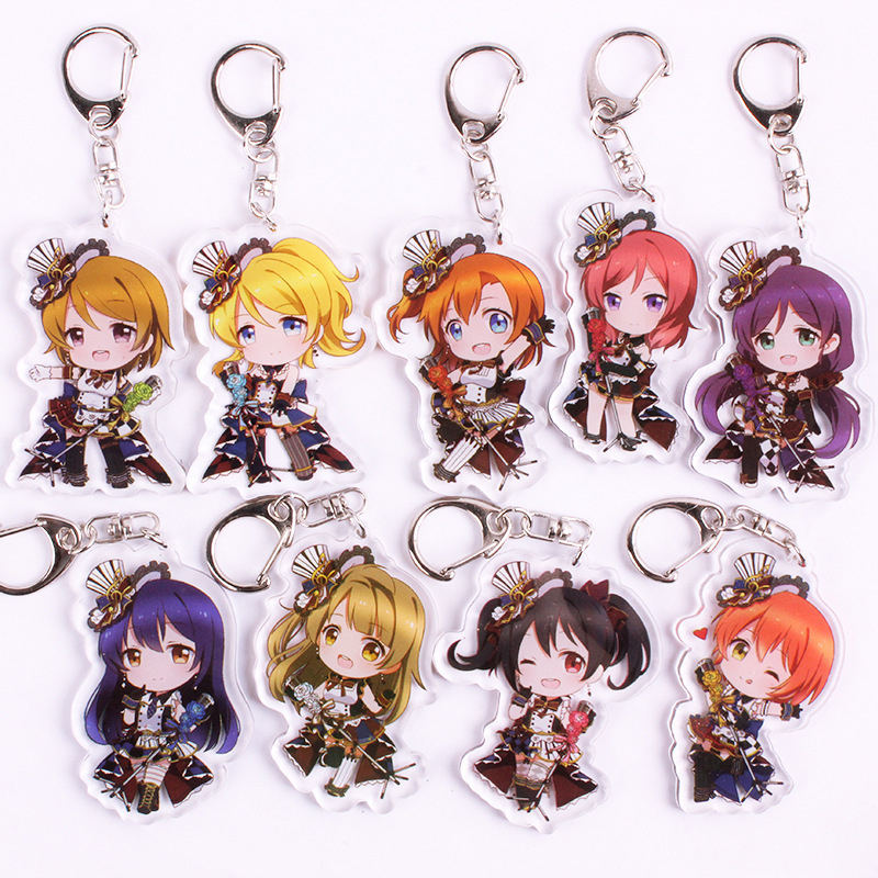 Anime LoveLive Keychain Love Live Kotori Minami Nico Sleepy Girl Super Cute Animal Twoside Print Keyrings Fans Gift