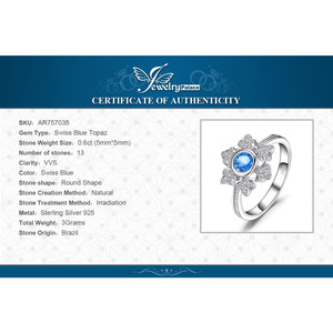 Image 5 - JewelryPalace Snowflake 0.6ct Genuine  Blue Topaz Cocktail Ring 925 Sterling Jewelry for Women Fashion Jewelry Elegant Gift