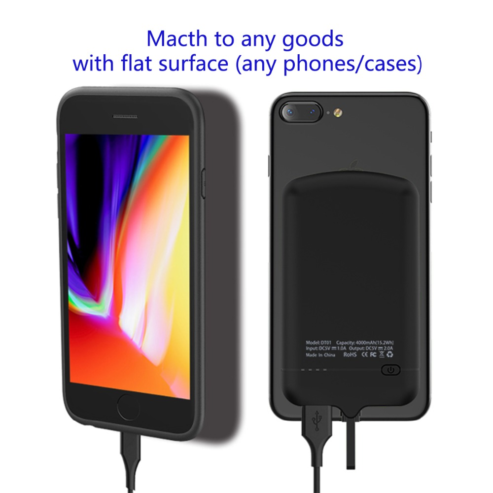 best value 8e3cd f4fc6 WOJOQ Charger Case For iPhone 6 6s 7 plus Battery Case 4000mAh For iphone  Android phone External Power Bank Case Nano adsorption-in Battery Charger  ...