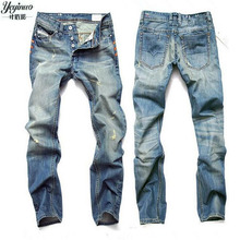 2017 blue jeans männer gerade jeans hose plus größe 28-42 hohe qualität baumwolle logo marke orange taste herren jeans