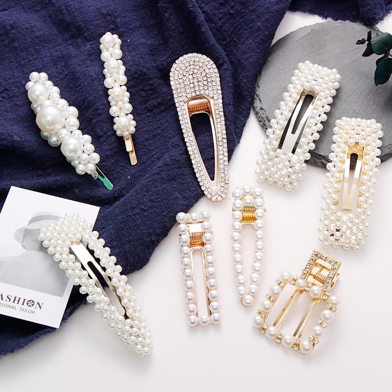 2019 Hot Sale Women Girls Elegant Full Pearls Crystal Geometric Hairpins Headbands Hair Clips Barrettes Fashion Hair Accessories