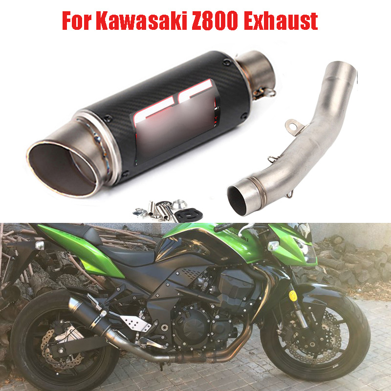 Z800 Motorcycle Exhaust Tip Baffler Stainless Steel Modified Mid Link Pipe Slip On Whole Set Pipe For Kawasaki Z800 все цены