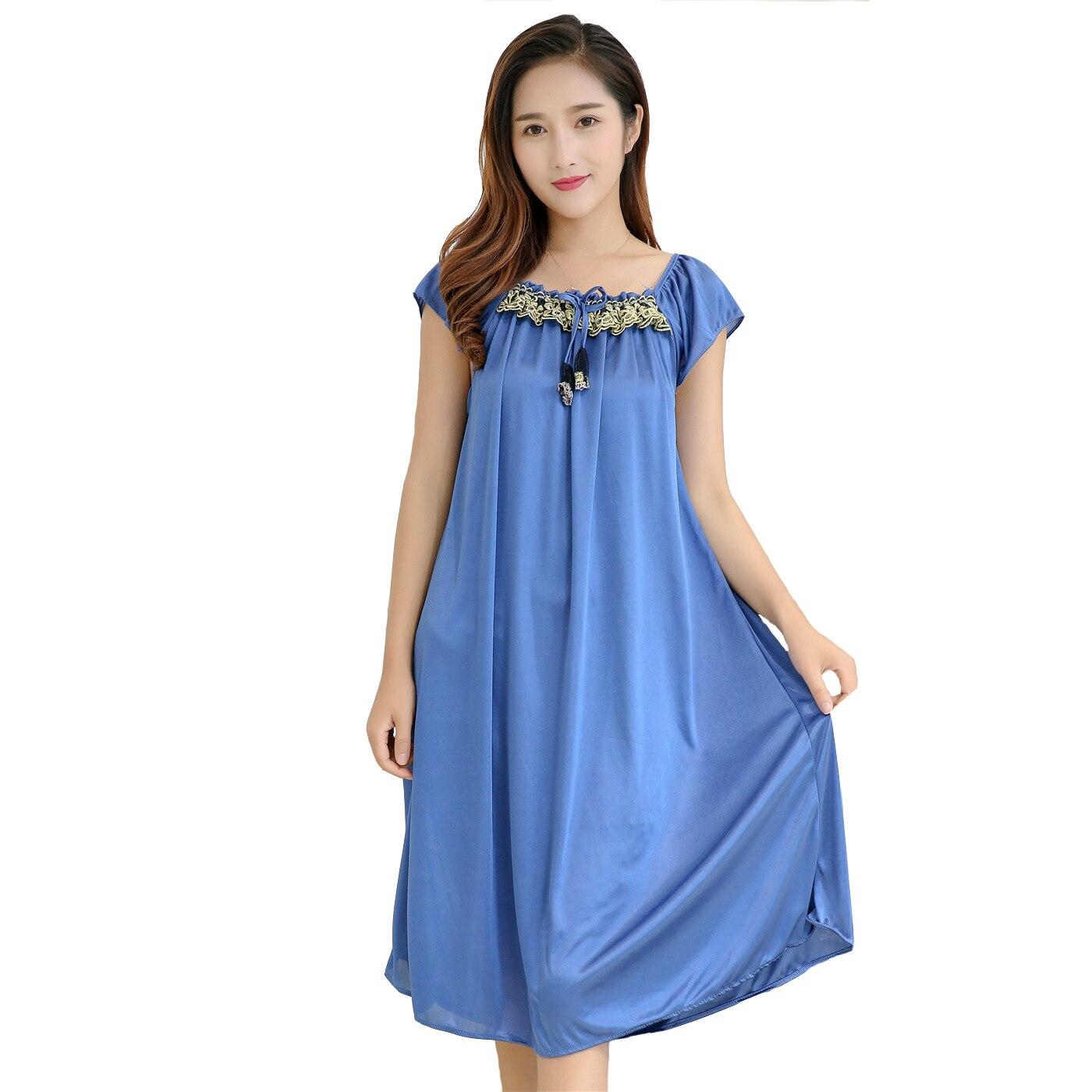 NEW Women Nightdress Summer Casual Sleepwear Satin Nightwear Embroidery Home Dress Female   Nightgown   Sexy   Sleepshirt   Negligee