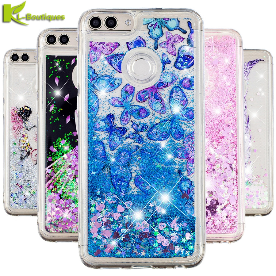 P Smart Case on for Huawei P Smart Cover sFor Coque Huawei PSmart Enjoy 7S Soft Silicone Butterfly Liquid Dynamic Phone Cases