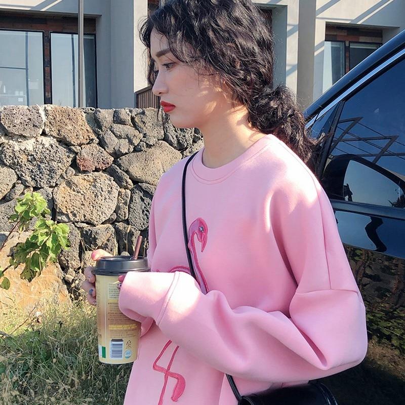 Pink Flamingo Embroidery Space Cotton Sweatshirt 4