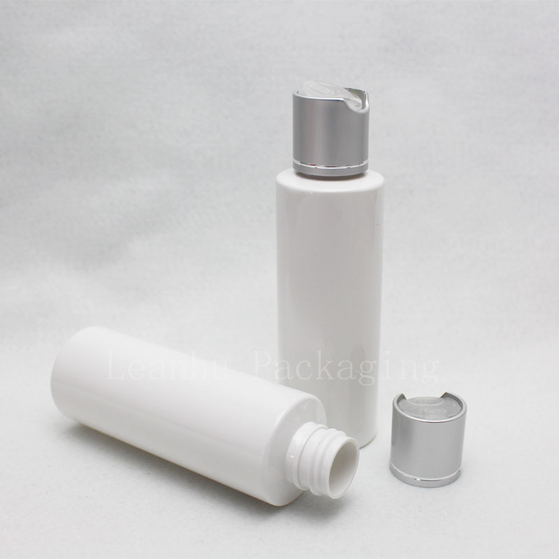 120ml white bottle with silver disc top cap (3)