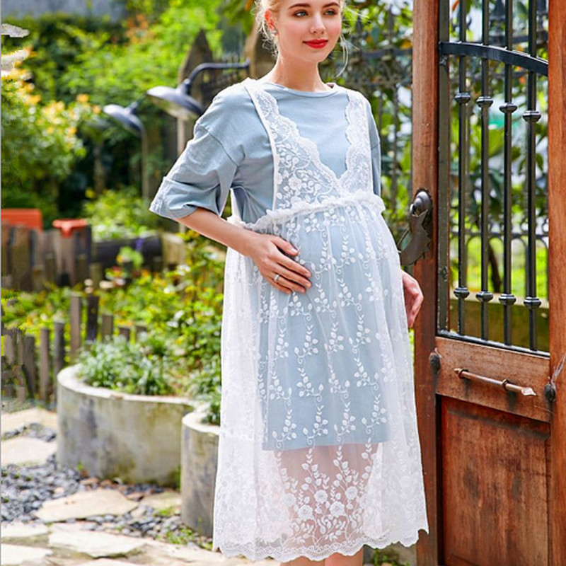 Maternity Clothes Summer 2Pcs Clothing T Shirt & Lace Slip Dress Set Maternity Dresses Comfortable Fashion Lace Strap Dress A009