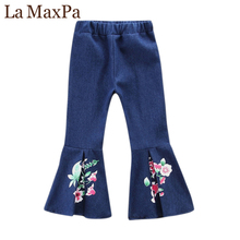 La MaxPa Girls Denim Pants Floral Print Jeans 2018 New Arrival Outerwear Children Casual Fashion Kids Trousers Girls Jeans