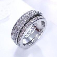 Полный проложили Камни CZ Циркон Одежда высшего качества Бесплатная доставка женские роскошные свадебные украшения вращаться милый Дизайн элегантный летие кольцо