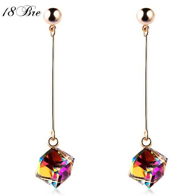 Fashion fine jewelry charm earrings with stones multicolor simple long drop cube