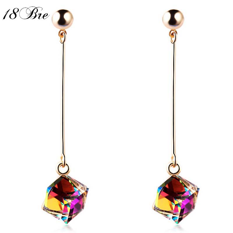 Fashion fine jewelry charm <font><b>earrings</b></font> with stones multicolor simple long drop cube crystal red jewelry <font><b>dangle</b></font> <font><b>earrings</b></font> Brincos image