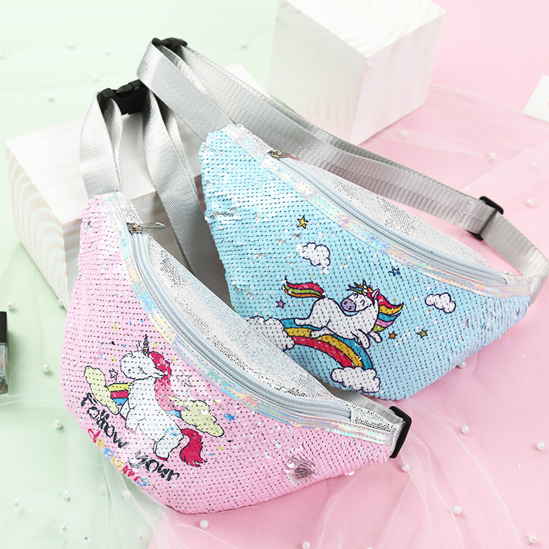 Girl Polyester Lovely Unicorn Waist Bag Student Phone Pocket Adjustable Belt Sequin Cartoon Pillow Chest Shoulder Bag For Women