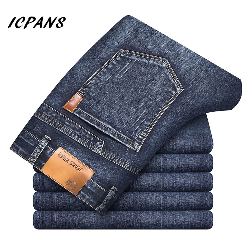 ICPANS Denim Jeans Men Classic Denim Jeans For Men Black Summer Thin Slim Fit Pants Stretch Skinny Male Vintage Jeans
