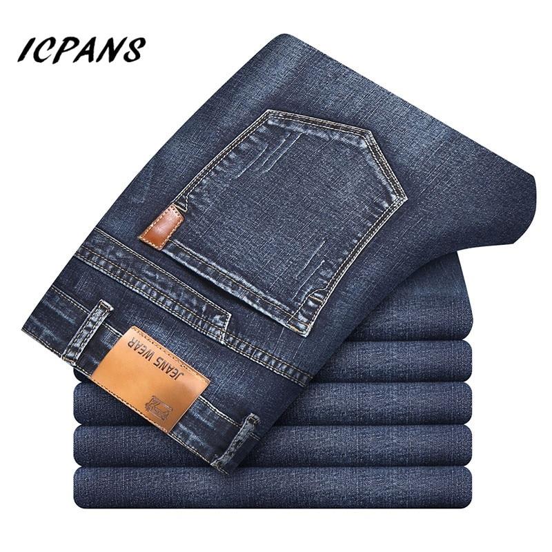 ICPANS Denim Jeans Men Classic Denim Jeans For Men Black Summer Thin Slim Fit Pants Stretch Skinny Male Vintage Jeans